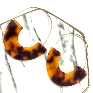 Dark Tortoise Shell Resin Acrylic Drop Earrings